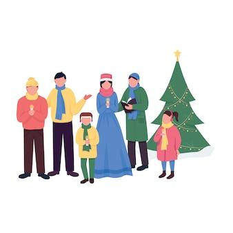 Caratteri senza volto di colore piatto di canti natalizi