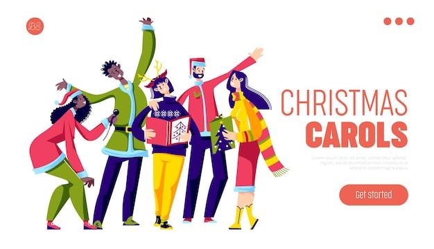 I canti natalizi cantano con un allegro gruppo di persone che cantano