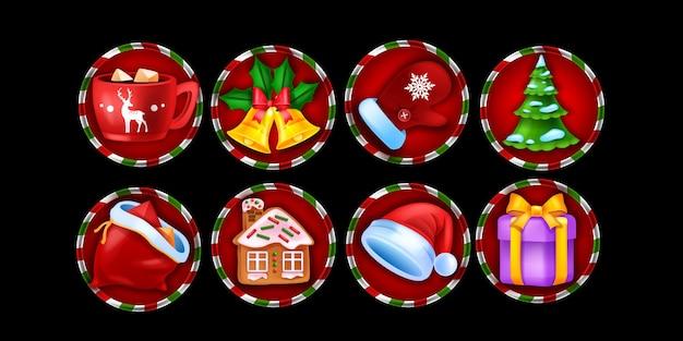 Set di icone del gioco di slot del casinò di natale vacanza invernale simbolo di natale vettore elementi di gioco online