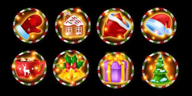 Set di icone del gioco di slot machine del casinò di natale vacanze invernali kit di simboli di gioco d'azzardo albero di pino di natale