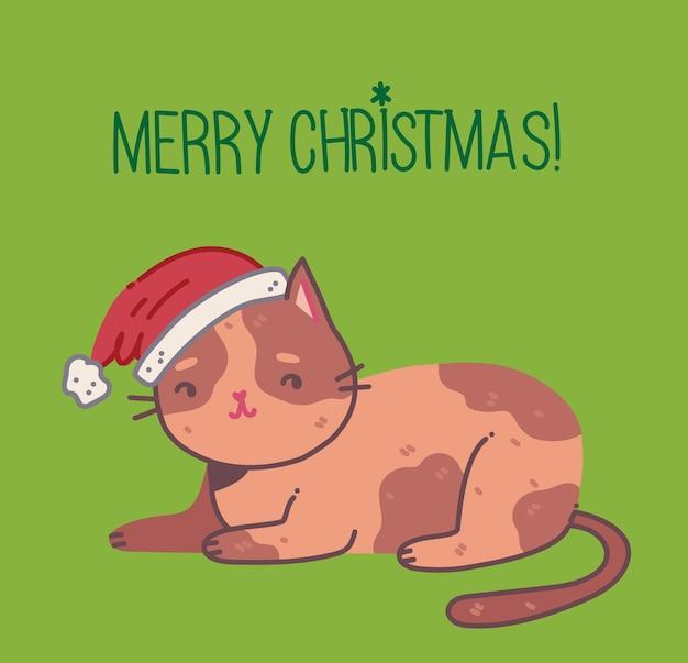 Gatto di natale buon natale illustrazione di un simpatico gatto con accessori come un maglione con cappello lavorato a maglia