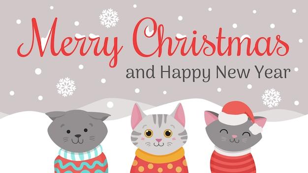 Gatti natalizi, illustrazioni natalizie merry meow di simpatici gatti con cappelli lavorati a maglia, maglioni e sciarpa