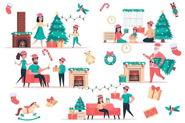 Il natale celebra l'insieme di elementi isolati bundle of family dà regali decora l'albero santa