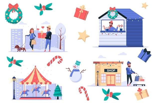 Il natale celebra il set di elementi isolati gruppo di persone che comprano e regalano regali per lo shopping