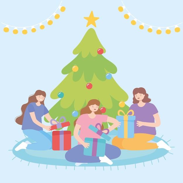 Celebrazione di natale con le donne che aprono l'illustrazione di vettore dei contenitori di regalo