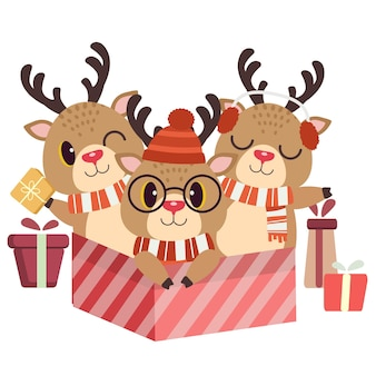 Il personaggio natalizio di simpatici cervi e amici nel grande gifbox in illustation stile piatto