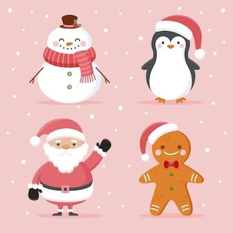 Collezione di personaggi di personaggi natalizi in design piatto
