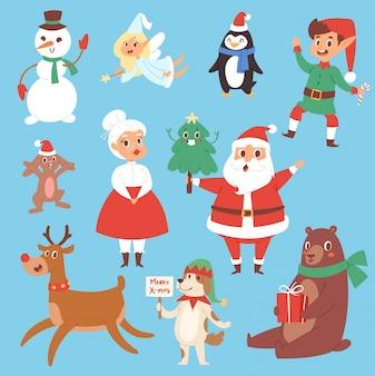 Personaggi natalizi simpatico cartone animato babbo natale, pupazzo di neve, renne, orso di natale, santa moglie, cane simbolo di capodanno, elfo bambino ragazzo e pinguino caratteristiche individuali illustrazione