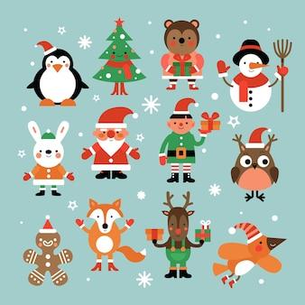 Personaggi natalizi. insieme di vettore del fumetto di babbo natale, abete e pinguino, pupazzo di neve ed elfo, lepre e gufo, cervo e omino di marzapane.