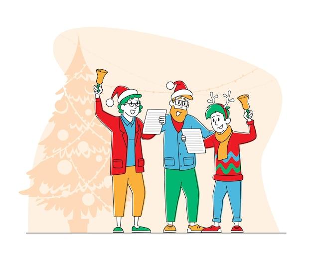 Personaggi natalizi in canto di babbo natale e cappelli di renna