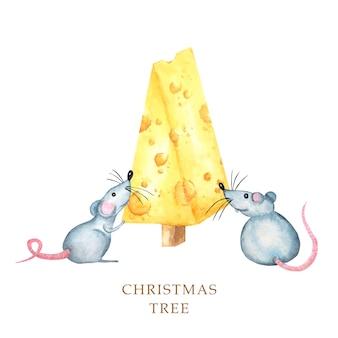 Albero di formaggio di natale con ratto. biglietto di auguri di capodanno. pezzo di disegno ad acquerello di formaggio a forma triangolare.