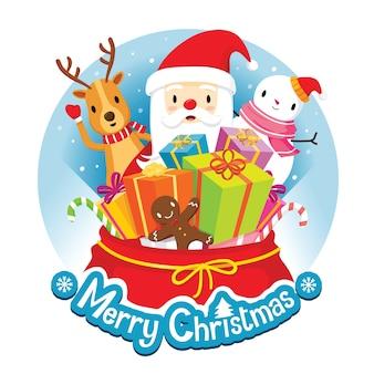 Banner di natale cerchio e decorazione con babbo natale, renne, pupazzo di neve e regali