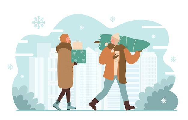 I personaggi felici della strada della città di natale camminano dopo lo shopping