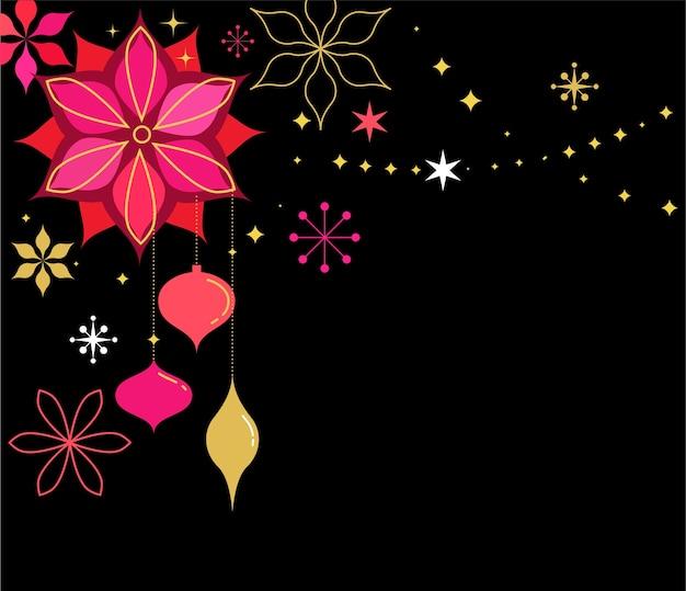 Sfondo classico di natale con fiori e ornamenti natalizi