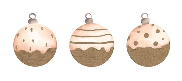 Collezione natalizia di palline per un albero di natale. illustrazione dell'acquerello.