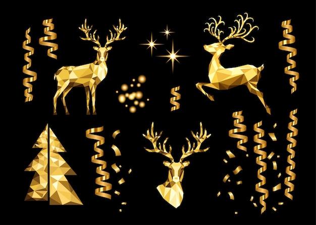 Collezione natalizia di elementi decorativi dorati. renna poligonale d'oro, effetti di luce incandescente, serpentina e albero di natale su sfondo nero. insieme di vettore.