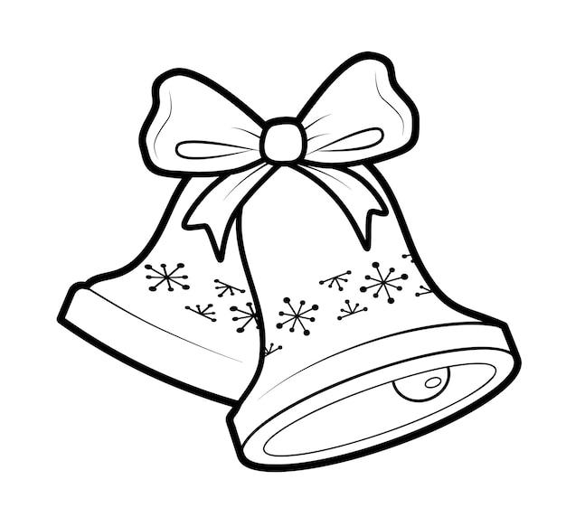 Libro da colorare di natale o pagina per bambini. illustrazione vettoriale di campana di natale in bianco e nero
