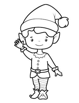 Libro da colorare di natale o pagina per bambini. illustrazione vettoriale di elfo di natale in bianco e nero