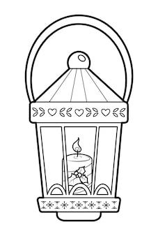 Libro da colorare di natale o pagina per bambini. lanterna di natale in bianco e nero illustrazione vettoriale