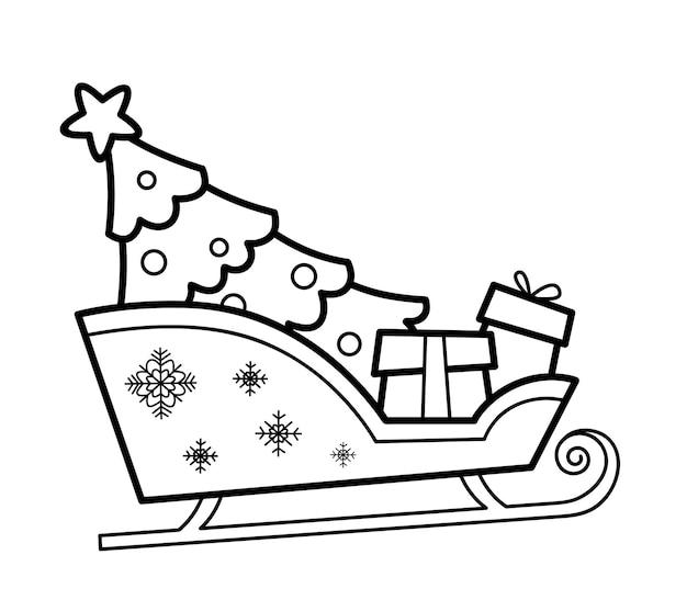 Libro da colorare di natale o pagina per bambini. illustrazione vettoriale in bianco e nero della slitta di natale