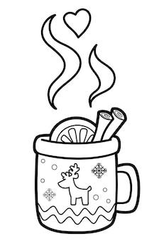 Libro da colorare di natale o pagina per bambini. illustrazione vettoriale di tazza in bianco e nero