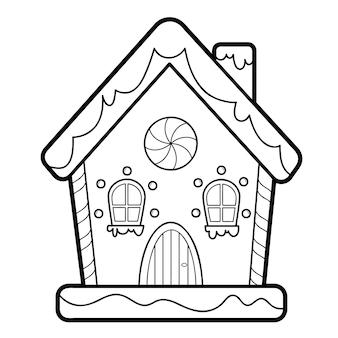 Libro da colorare di natale o pagina per bambini. illustrazione vettoriale di casa di pan di zenzero in bianco e nero