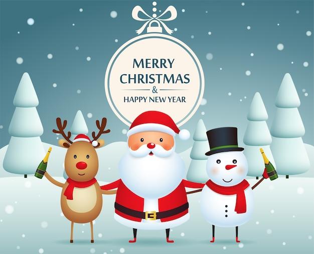 Compagni di natale, babbo natale, pupazzo di neve e renne con champagne su uno sfondo innevato con alberi di natale. buon natale e felice anno nuovo.