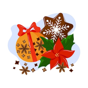 Composizione natalizia di arancia con garofano, fiore di poinsettia e pan di zenzero dipinto.