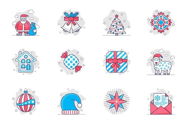 Le icone della linea piatta del concetto di natale impostano l'arredamento festivo del buon anno per l'app mobile