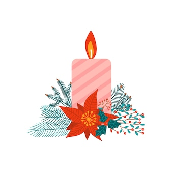 Concetto di natale con ramo di abete, poissentia e candele su uno sfondo bianco.