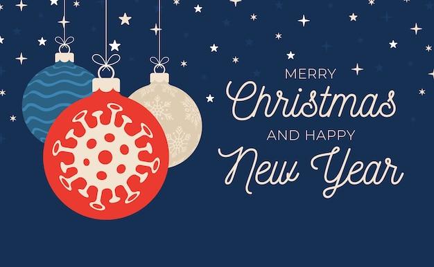 Banner di palla di natale coronavirus. eventi e festività natalizie durante una pandemia