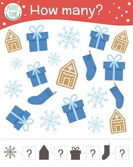 Gioco di conteggio natalizio con pan di zenzero, fiocco di neve, regalo, calza. attività di matematica invernale per bambini in età prescolare. quanti oggetti foglio di lavoro. puzzle educativo per bambini.
