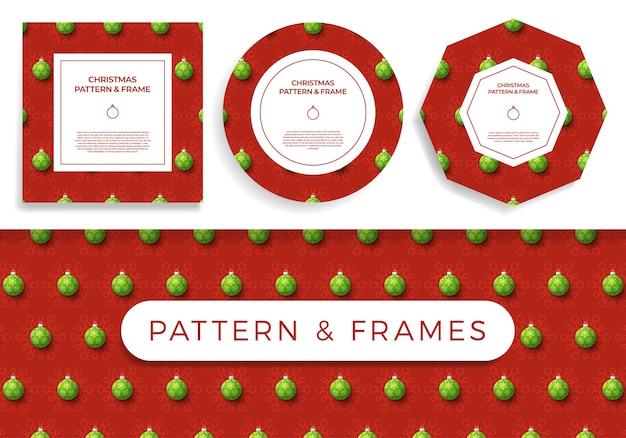 Natale covid seamless pattern e frame set illustrazione