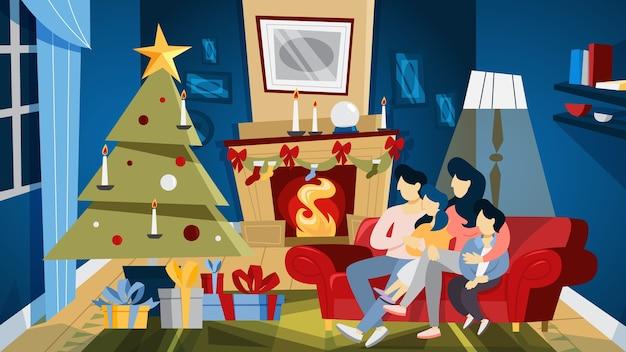 Stanza accogliente di natale con albero e scatole regalo.