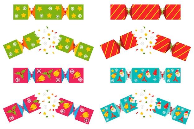 Set di cracker di natale isolato su uno sfondo bianco.