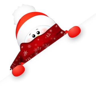 Natale carino, bambino, divertente pupazzo di neve con sciarpa e cappello rosso di babbo natale e segno.
