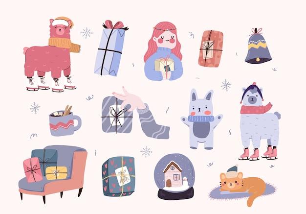 Natale cartoon carino elementi decor set sticker design