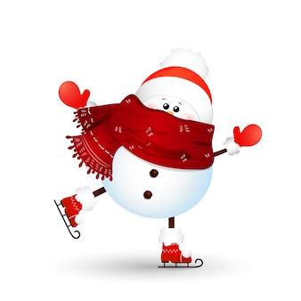 Natale, pattinaggio su ghiaccio carino, divertente pupazzo di neve isolato su bianco