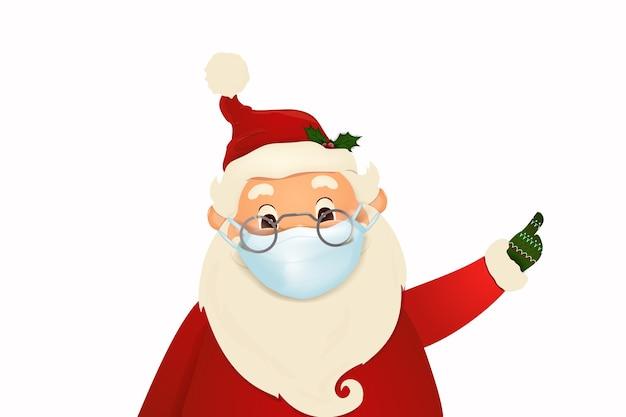 Natale babbo natale carino e felice con la maschera facciale medica da portare e saluto isolato su priorità bassa bianca. vacanze sicure durante la crisi sanitaria di epidemia di pandemia. personaggio dei cartoni animati di babbo natale.