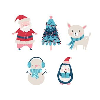 Il simpatico set natalizio in stile disegnato a mano include animali, babbo natale e altri elementi.