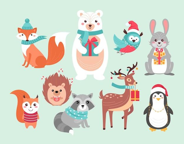 Simpatici animali del bosco di natale caratteri animali divertenti di natale della foresta, fondo disegnato a mano di natale