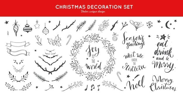 Collezione di doodle di decorazioni natalizie per cartoline di natale