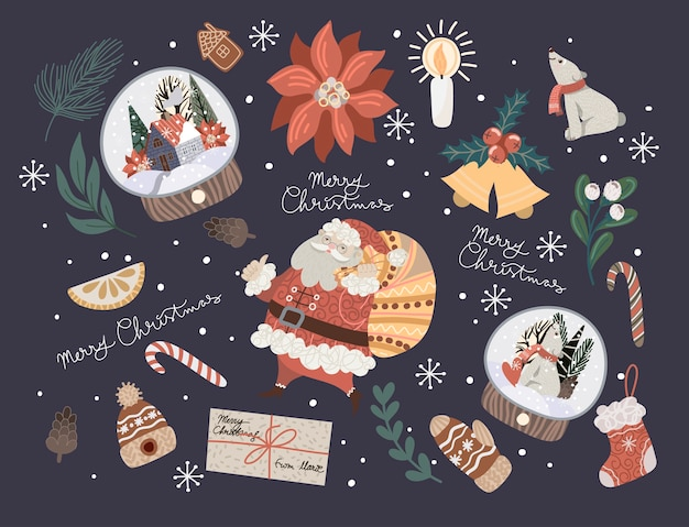 Decorazioni natalizie come rami di abete, sfere di vetro, stelle di natale, pigne e altro ancora.