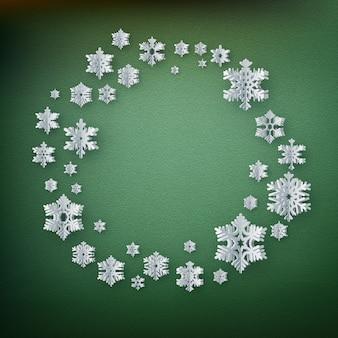 Modello della carta della decorazione di natale fatto dei fiocchi di neve di carta con copyspace. Vettore Premium