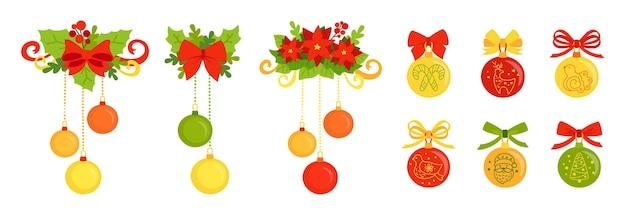 Insieme del fumetto della decorazione di natale. palla piatta colorata, poinsettia, agrifoglio, fiocchi