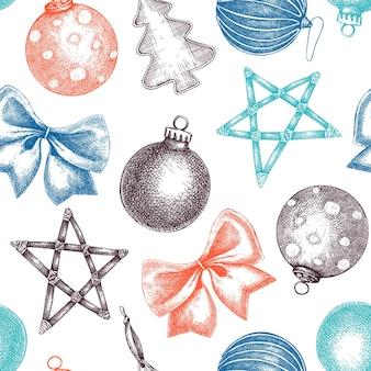 Sfondo di elementi di decorazione natalizia a colori sfondo vacanze invernali