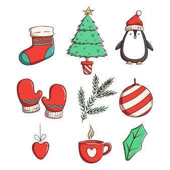 Decorazioni natalizie o elementi con stile disegnato a mano