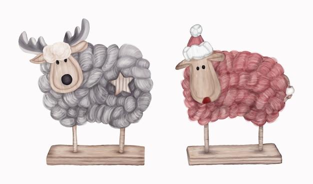 Figurine di decorazioni natalizie cervi e pecore