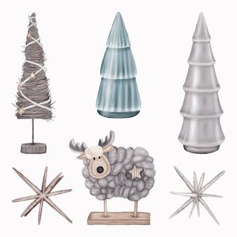 Figurine di decorazioni natalizie alberi, cervi e stelle