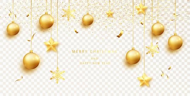 Decorazione natalizia. bordo di scintillio dell'oro di festa isolato. elementi decorativi per striscioni per natale e capodanno